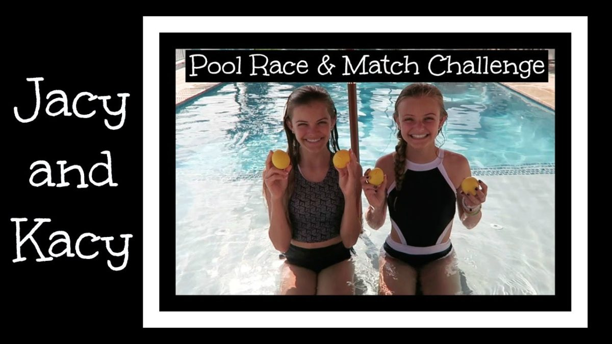 Swimming Pool Race & Match Challenge ~ Jacy and Kacy