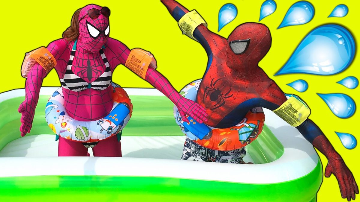 Spiderman in The POOL! w/ Pink Spidergirl vs Spiderman Swimming POOL prank! Frozen Elsa in Real Life