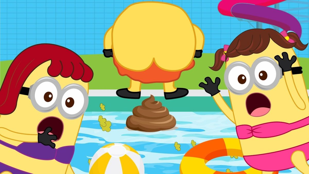 Minions Banana Baby Gets Impatience & POOPs on Swimming Pool! Finger Family Song Nursery Rhymes